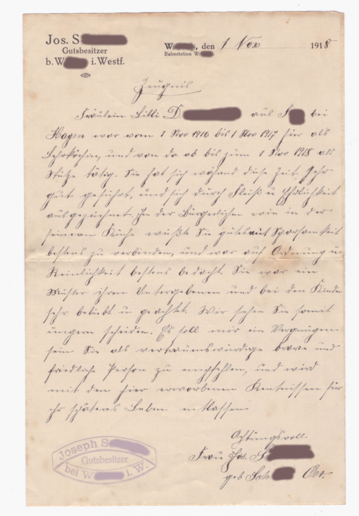 Job reference letter of my great-grandmother Lilli from 1918, written in Kurrent script.