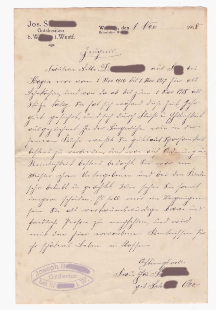 Arbeitszeugnis meiner Urgroßmutter Lilli D. aus dem Jahr 1918, geschrieben in Sütterlin.