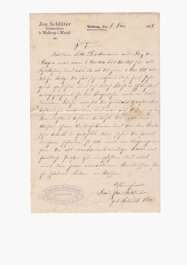 Ein handschriftlich verfasstes Arbeitszeugnis, in Kurrent geschrieben.